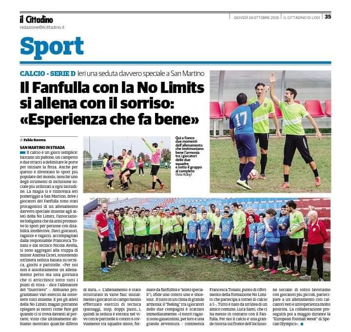 giovedì 24 ottobre Fanfulla calcio